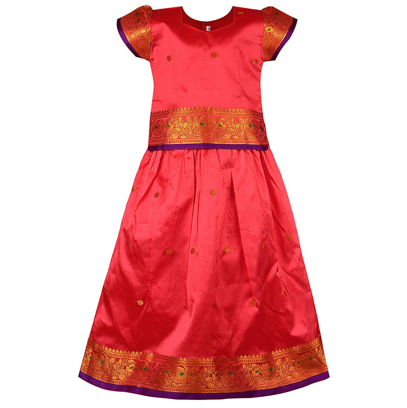 Girl's Traditional Art Silk Stitched Lehenga Choli-gc205pnk