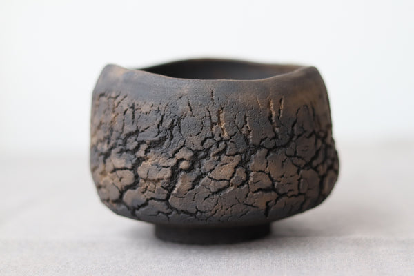 Hand Pinched Chawan - Black Clay with Matte Bronze