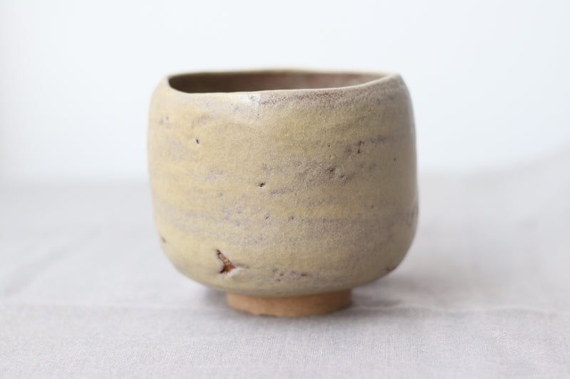 Hand Pinched Chawan - Raku Cream Crackle
