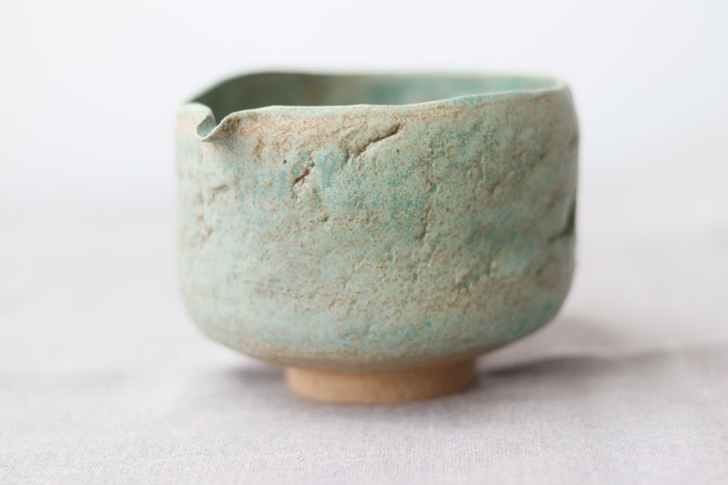 Hand pinched Chawan - Raku Crystalised Green with Spout