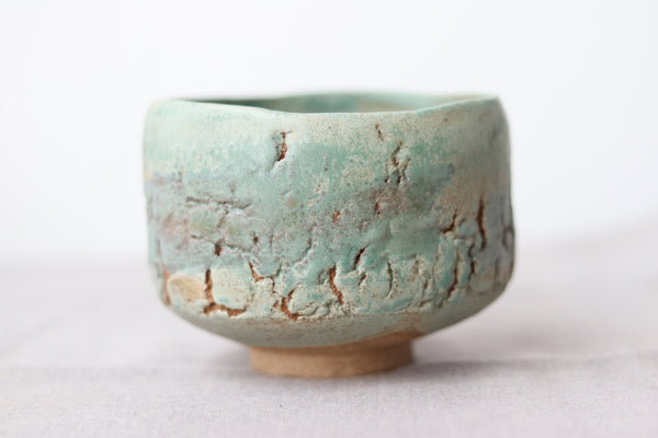 Hand Pinched Chawan - Raku Crystalised Green