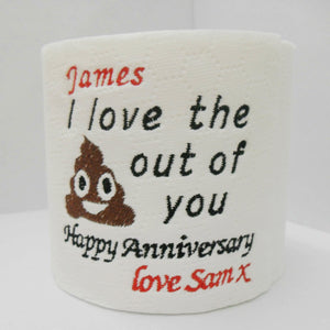 Personalised loo roll novelty gift anniversary paper