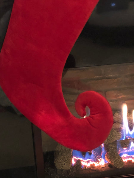 Curly Toe Red Christmas Stocking