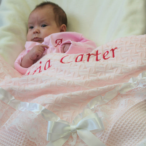 personalised blanket shawl pink