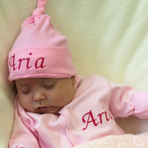 personalised baby knot hat pink