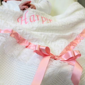 White Baby Shawl Blanket