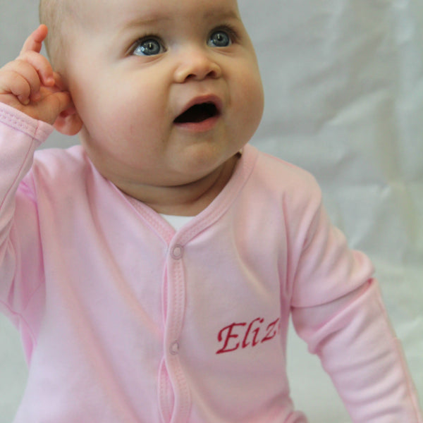 personalised sleepsuit baby pink