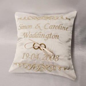 Personalised Scroll Feature Ring Cushion