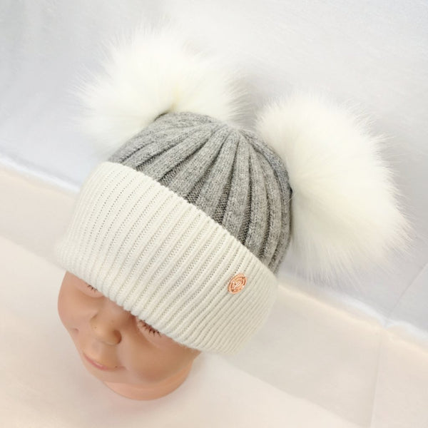 Cashmere Blend Double Pom Pom Hat - Grey & White