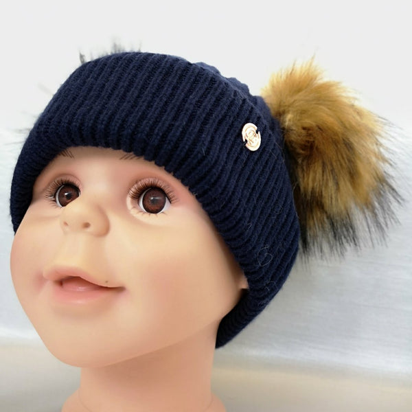 Cashmere Blend Double Pom Pom Hat - Denim Blue & Natural Fur
