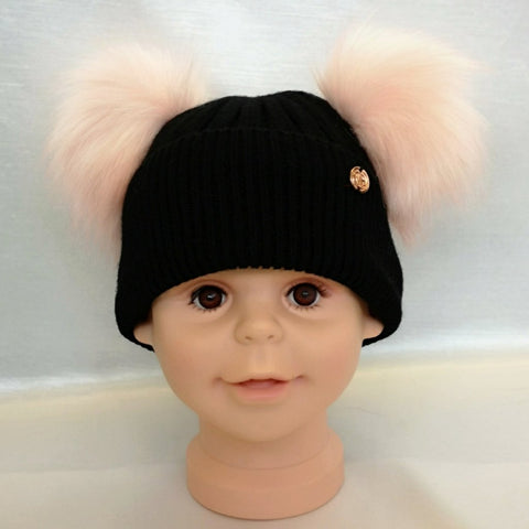Cashmere Blend Double Pom Pom Hat - Black & Pink