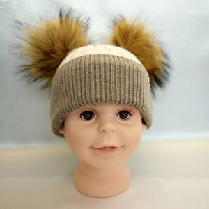 Cashmere Blend Double Pom Pom Hat - Beige & Biscuit