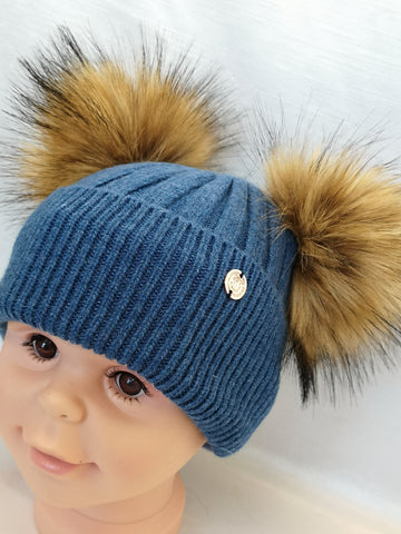 Cashmere Blend Double Pom Pom Hat - Blue & Natural Fur