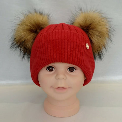Cashmere Blend Double Pom Pom Hat - Red & Natural Fur