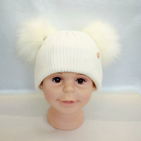 Cashmere Blend Double Pom Pom Hat - All White