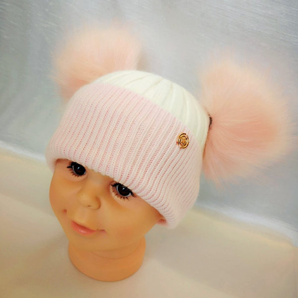 Cashmere Blend Double Pom Pom Hat - Pink & White