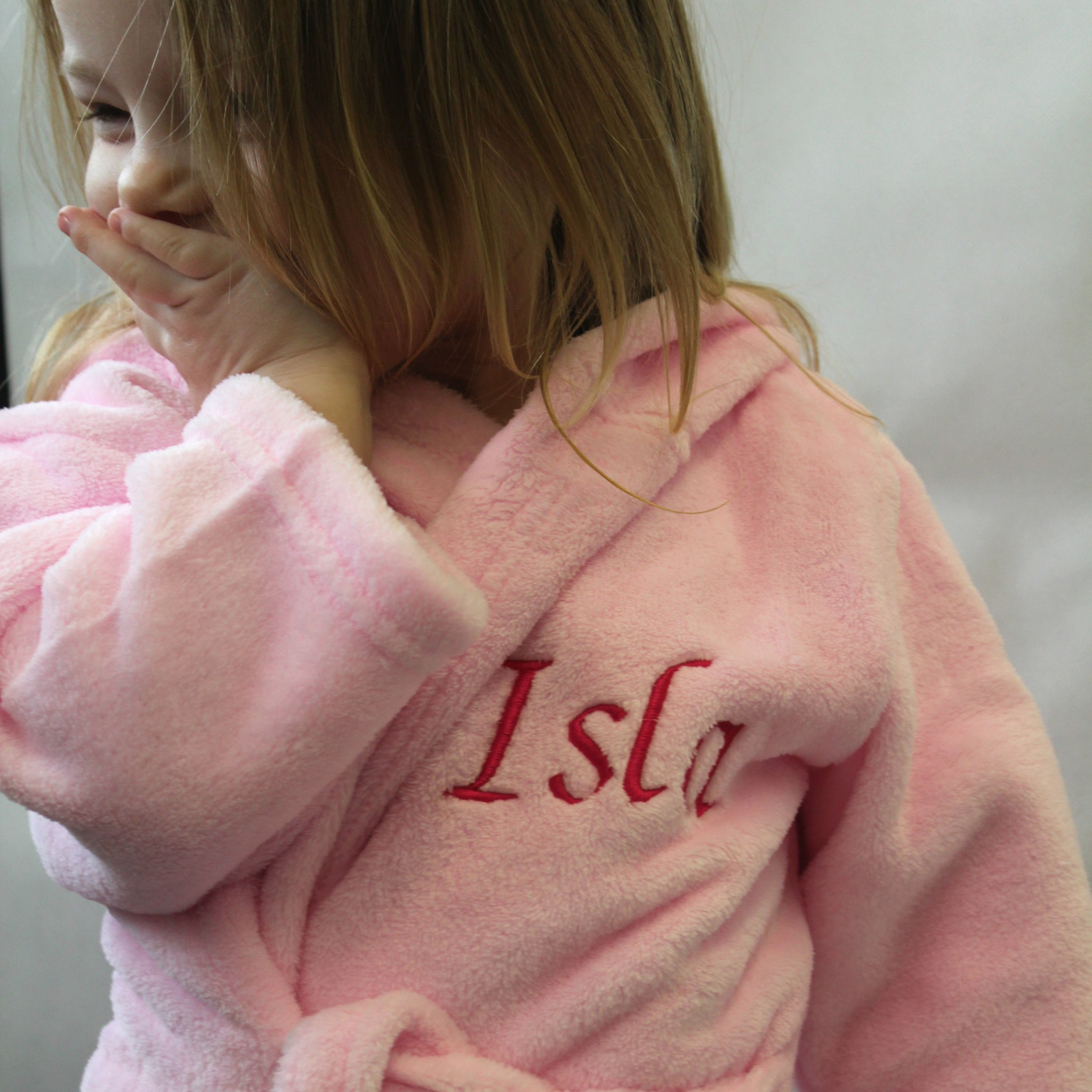 personalised dressing gown pink baby toddler