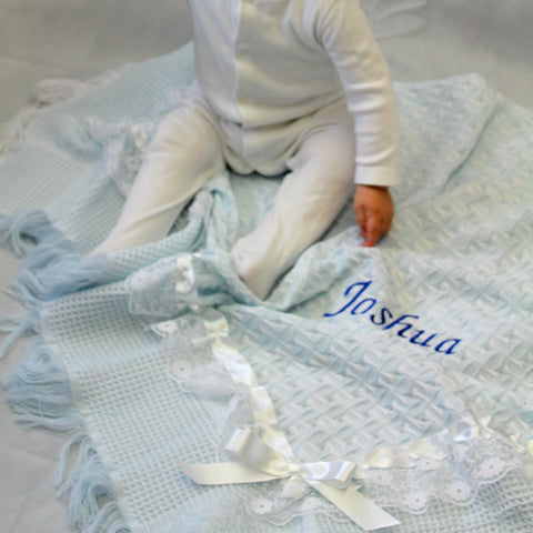 Personalised Baby Blanket Blue with ribbon trim