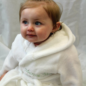 Soft White Hooded Baby Dressing Gown