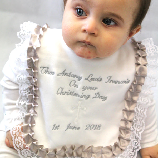 personalised christening day baby bib custom gift