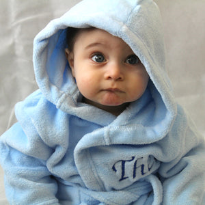 Soft Blue Hooded Baby Dressing Gown
