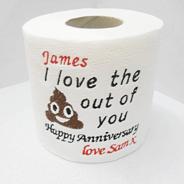 personalised novelty loo roll anniverary paper