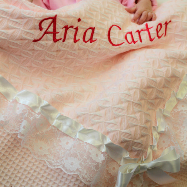 personalised blanket shawl pink baby toddler