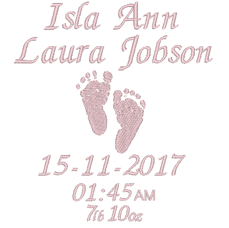 personalised baby bib birth announcement pink
