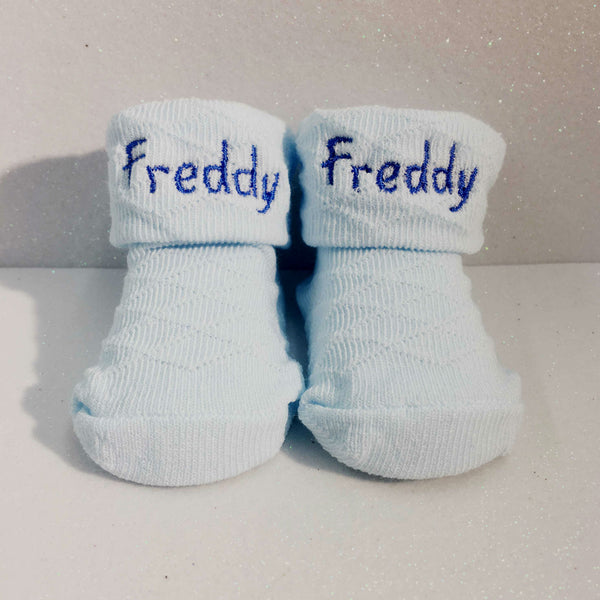 personalised baby sock booties blue
