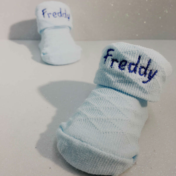 personalised blue baby sock booties