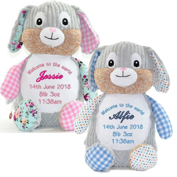 Birth Announcement Patchwork Bunnies Alex and Ava