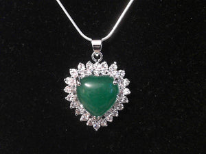 Crystal Heart with Jade Stone