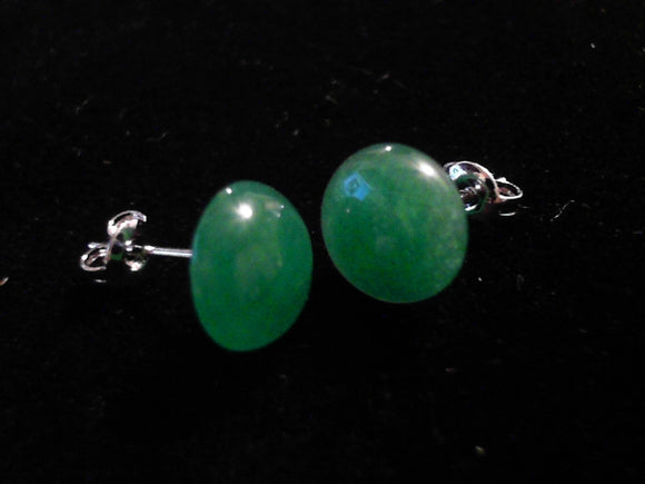 Jade Button Post Earrings