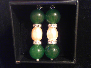Jade and pearl hook Earrings