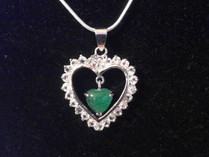 Crystal Heart with hanging Jade Stone