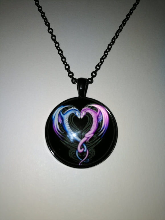 Double Dragon Heart Necklace represent strength / Power / Good Luck/ Protection / Love Friendship.