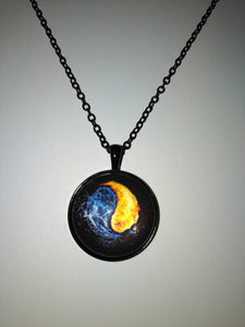 Fire and Ice Yin Yang Necklace  Balance of Good and Bad