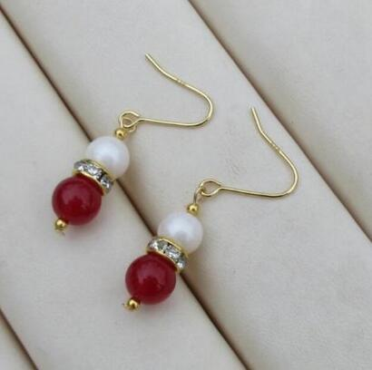 Free shipping Charming Genuine AAA+++ white pearl +red jade dangle earring 14K/20 YELLOW HOOK