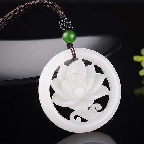 Fashion White Jade Hollow Flower Pendant Necklace Jewellery Chinese Hand-Carved Relax Healing Women Man Luck Gifts Amulet New