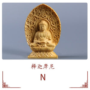 Boxwood Carving Ornaments Chinese Wood Buddha Statue Guarding The Shrine Thousand Hands Guanyin Sculpture Home Decor