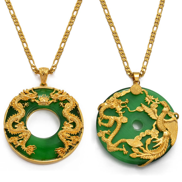 Anniyo Auspicious Dragon Pendant Neckalces Women Men Jewelry Chinese Style Artificial Green Stone Good Luck Happiness #018007