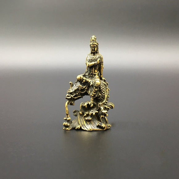Collection Chinese Brass Carved Guan Yin Kwan-yin Bodhisattva Riding Dragon Buddha Statue Exquisite Small Statues