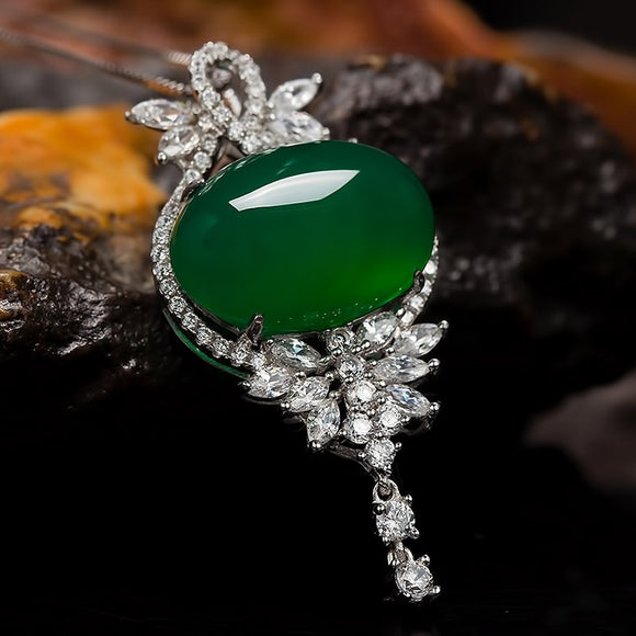 Natural Emerald Pendant For Women 925 Sterling Silver Color Jade Necklace Green Chalcedony Crystal Agate clavicle Pendant