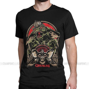 Gremlins Men's T Shirts Gizmo 80s Movie Mogwai Monster Horror Retro Sci Fi Creative Tees Short Sleeve T-Shirts Cotton 6XL