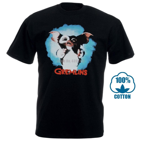 New T Shirt Men Fashion T Shirts Gremlins Mens T Shirt Full Color Gizmo Photo Image Over Red Name 012131