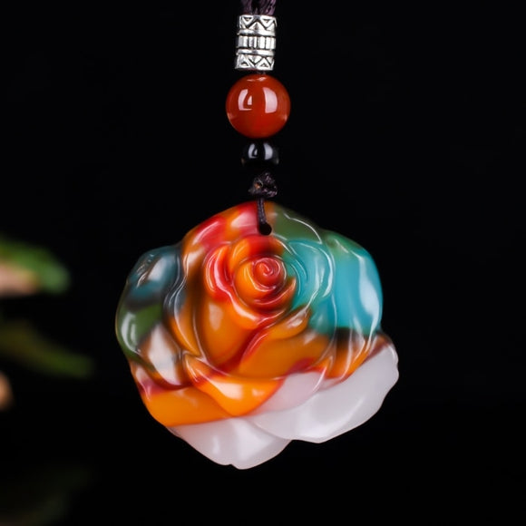 Fashion Colour Rose Jade Pendant Necklace Jewellery Chinese Hand-Carved Women Man Luck Gifts Amulet Free Rope