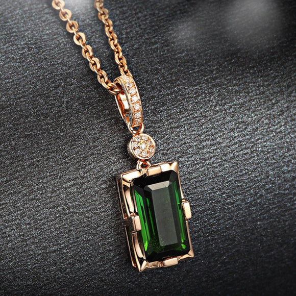 14K Rose Gold Diamond Necklace Pendant Natural Emerald jade Necklace for Women Peridot Bizuteria Gemstone Jade Jewelry Pendant