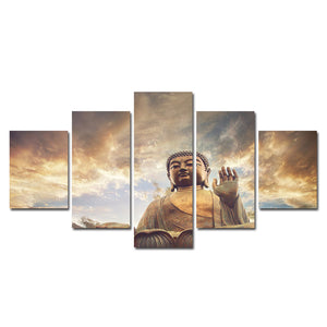 Meditation Wall Pictures For Living Room Buddha Wall Art serenity 5Pcs Canvas Painting Decorative Art tableau decoration murale - Lucky Mouse Chinese Gifts