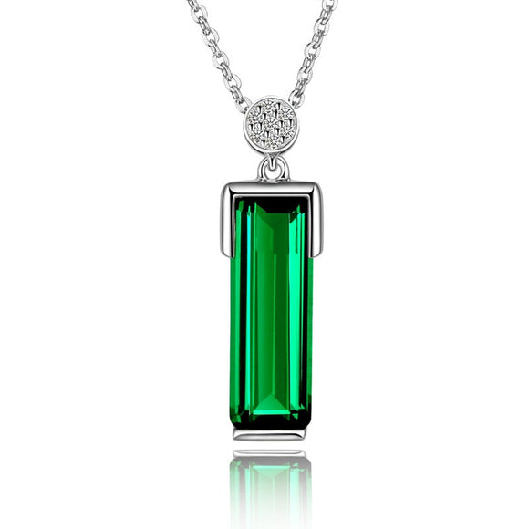 silver 925 necklace Emerald Pendant Green Jewelry Bizuteria Woman Jade Emerald bijoux femme chain 925 sterling silve necklaces