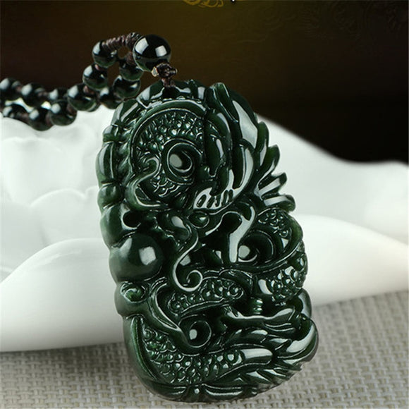 Natural Chinese HeTian Green Jade Hand-Carved Dragon  Pendant Beads Necklace Fashion Jewelry for Men Women Auspicious Gifts